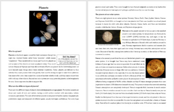 Planets - Reading Article - Grade 8 and Up