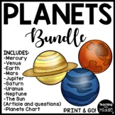 Planets Reading Comprehension Worksheet Bundle and Chart Solar System