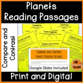 Planets Reading Comprehension Passages Compare and Contrast