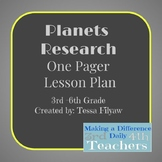 Planets Research One Pager Lesson Plan