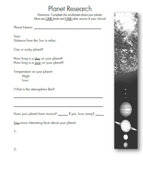 Planets - Research Project