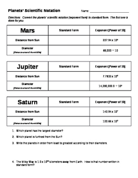 Planets' Scientific Notation (Multiply & Divide Powers of 10) - Editable