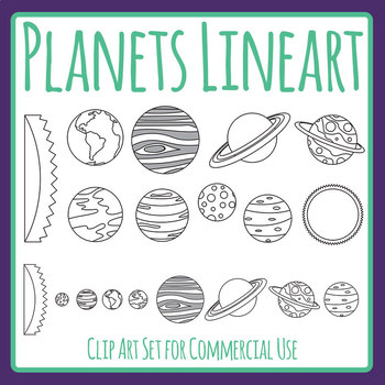 Planets / Solar System Lineart / Clip Art Set Commercial Use