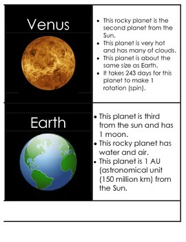 Planets Solar System Matching Flash cards, notes, centers and cut & paste