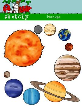 Planets / Sun Clipart Graphics 300dpi Color Black and White Grayscale