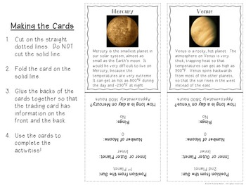 Planets Trading Cards with Reading Comprehension Activities