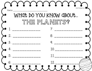 Planets Unit Introduction {True/False Sort and KWLs}
