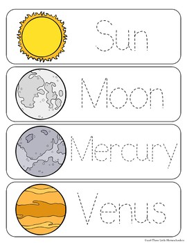 Planets Vocabulary Word Wall Cards plus Write & Wipe Version