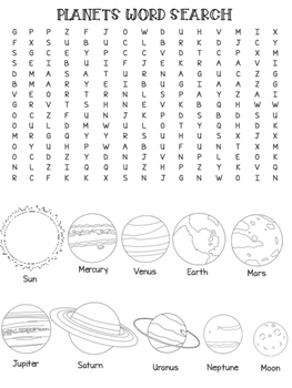 Planets - Word Seach AND Colouring