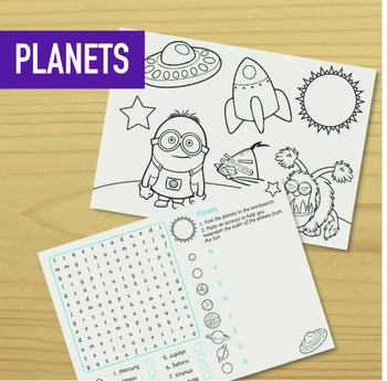 Planets Wordsearch, Acrostic and Colouring (inc. Angry Bir