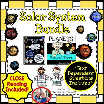 Planets and Solar System Bundle Close Reading and Text Dependent Questions