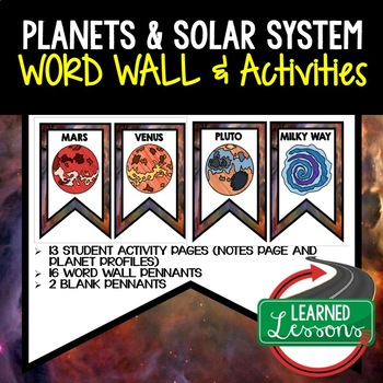 Planets and Solar System Word Wall and Activity Pages (Earth Science)