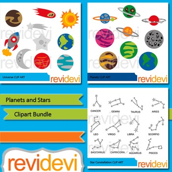 Planets and Stars Clip art Bundle (3 packs)