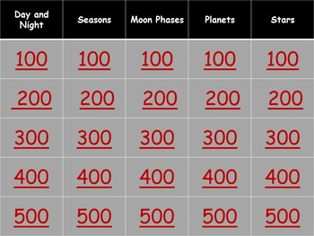 Planets and Stars Jeopardy Style