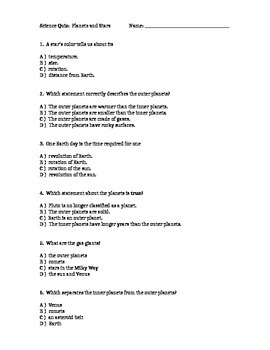 Planets and Stars Quiz