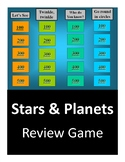 Planets and Stars Test Review - Jeopardy Game (Astronomy)