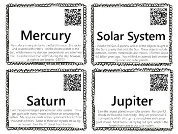 Planets Word Wall {with QR Codes}