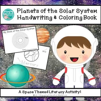 Planets of the Solar System Handwriting & Coloring Book