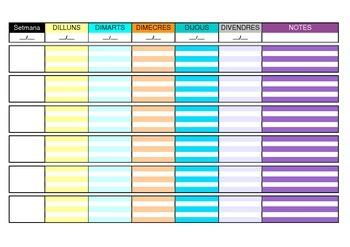 Planificador setmanal - dilluns a divendres