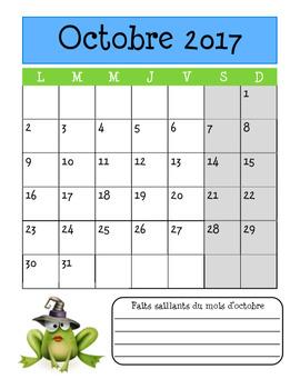 Planificateur 2017-2018 (Teacher Planner) 4 AM-2 PM