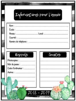Planificateur 2018-2019 3AM-3PM CACTUS Teacher Planner
