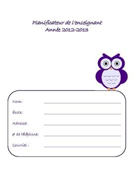 Planificateur de l'enseignant (Agenda 2012-2013) French Teacher Planner