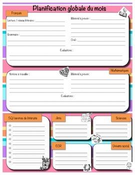 Planification mensuelle couleur