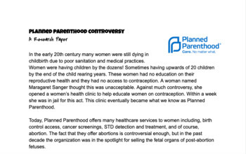 Planned Parenthood Research Paper
