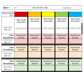planner page attendance seating chart for visual arts by art esse