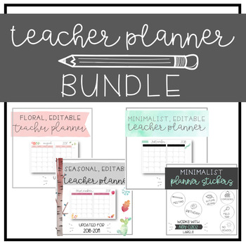 Planner BUNDLE - Floral, Minimalist, & Seasonal Planners - EDITABLE