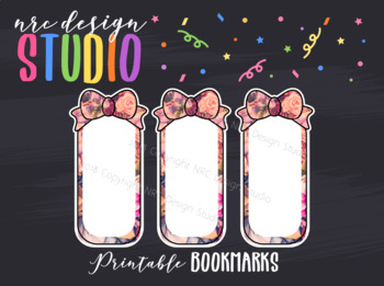 Planner Bookmark Printable, Floral Bow