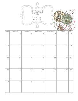 Planner Calendar~ Mint Floral 2016-2017