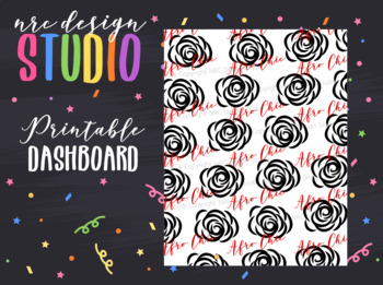 Planner Dashboard Printable, Roses, Afro Chic Planner Girl No.02
