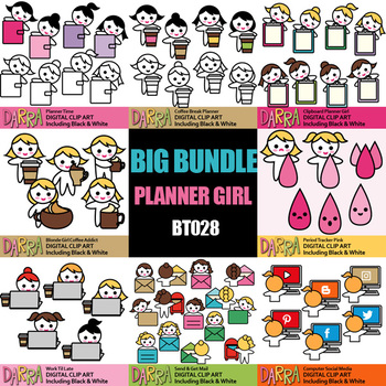 Planner Girl Chore Clipart Bundle Vol. 6 (working, coffee break, period time)