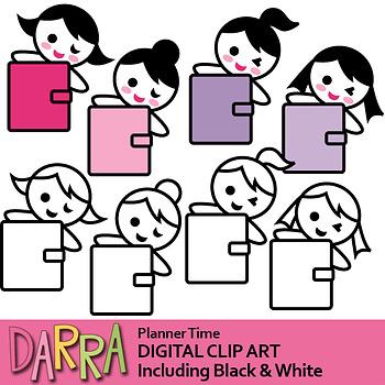 Planner Girl Clip Art