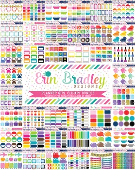 Planner Girl Clipart Bundle - 40 Graphics Sets