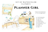 Planner Girl Clipart, Crafting clipart, Crafty girl clipart