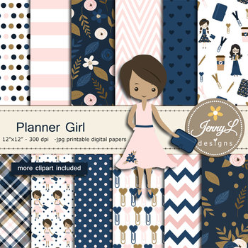 Planner Girl Digital papers and clipart SET