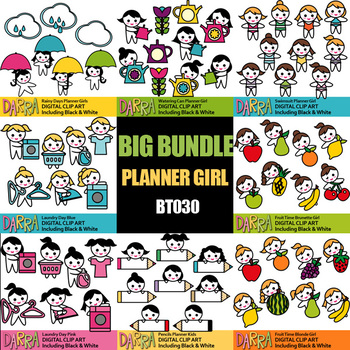 Planner Girls Clipart Bundle Vol. 8 (spring summer, laundry day, fruits)