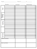Planner/ Homework Assignment Pages