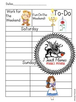 Planner Insert:Teacher Schedule *Beauty and the Beast Inspired* Non-Editable