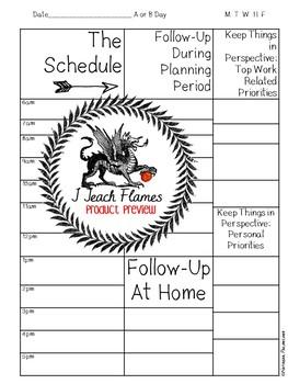 Planner Insert:Teacher Schedule *Black and White* Non-Editable