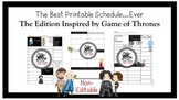 Planner Insert:Teacher Schedule *Game of Thrones Inspired* Non-Editable