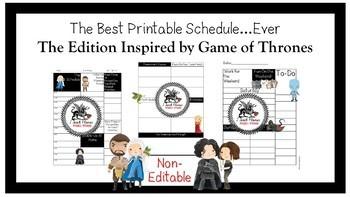 Planner Insert:Teacher Schedule *Game of Thrones Inspired* Non-Editable