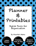 Lesson Planner & Printables for Stylish Organization Turquoise Polka Dots