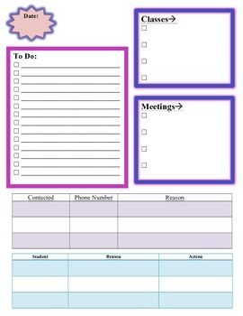 Planner Sheet for Counselors