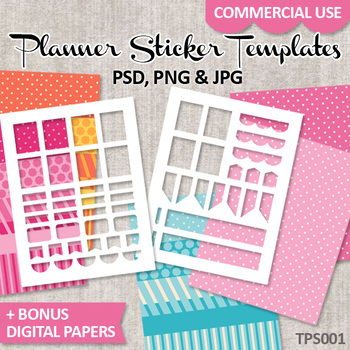 Planner Sticker Templates - DIY stickers ECLF vertical layout - No. 1