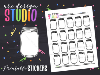 Planner Stickers Printable, Mason Jars No.07
