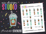 Planner Stickers Printable, Mint Coffee No.02