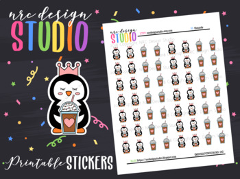 Planner Stickers Printable, Mocha Penguin No.04